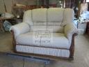 Kožená sedačka - pohovka se dřevem - 90